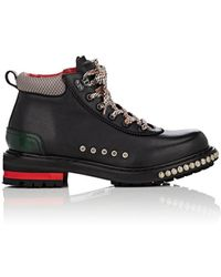 Alexander McQueen - Leather Studded Hiking Boots - Lyst