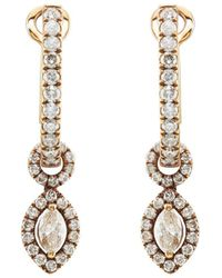 Zoe - Diamond & Chocolate Gold Drop Earrings - Lyst