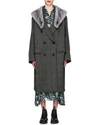 Prada - Mink-fur-collar Herringbone Virgin Wool Coat - Lyst