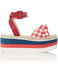 14b414614 Gucci - Crisscross-strap Gingham Platform Sandals - Lyst