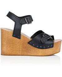 Barneys New York - Leather Platform-wedge Sandals - Lyst