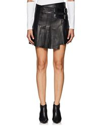 Helmut Lang - Pleated Leather Miniskirt - Lyst