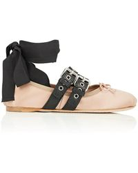 Miu Miu - Double Buckle Satin Ankle-tie Flats - Lyst