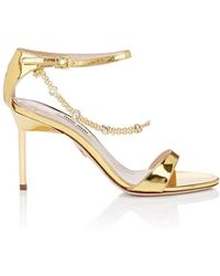 549b7c6ac12 Miu Miu - Embellished Patent Leather Ankle-strap Sandals - Lyst