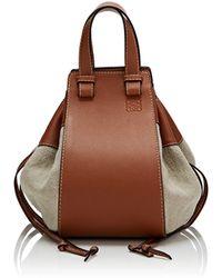 Loewe Hammock Medium Canvas & Leather Bag - Brown