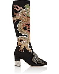 Gucci - Candy Embroidered Satin Knee Boots - Lyst