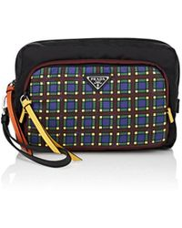 Prada - Plaid-pocket Leather-trimmed Pouch - Lyst