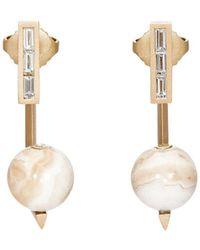 Monique Péan - White Diamond & Lace Agate Ear Jackets - Lyst