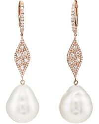 Samira 13 - Diamond & Pearl Drop Earrings - Lyst