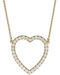 Jennifer Meyer - White Diamond Open Heart Necklace - Lyst