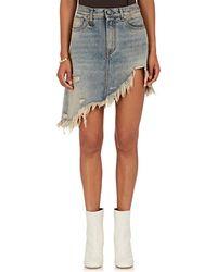 R13 - Distressed Asymmetric Denim Skirt - Lyst