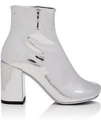 MM6 by Maison Martin Margiela - Mirrored Leather Ankle Boots - Lyst