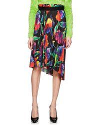 Balenciaga - Floral Plissé Crepe Skirt - Lyst