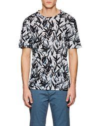 Theory - Clean Leaf-print Slub Linen T-shirt - Lyst