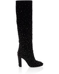Alberta Ferretti - Embellished Velvet Knee Boots - Lyst