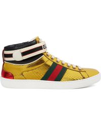 Gucci - New Ace Metallic Snakeskin Trainers - Lyst
