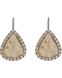 Roberto Marroni - Yellow Diamond, Brown Diamond & Oxidized Gold Teardrop Earrings - Lyst