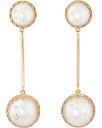 Samira 13 - Sliced Pearl & Diamond Drop Earrings - Lyst