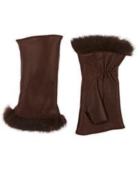 Barneys New York - Fur-lined Nappa Leather Fingerless Gloves - Lyst