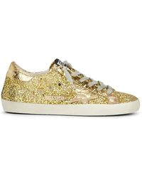 0a3a6ebb97e Lyst - Golden Goose Deluxe Brand Superstar Leather   Glitter ...