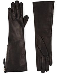 Barneys New York - Silk-lined Leather Long Gloves - Lyst