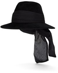 Jennifer Ouellette - Silk-chiffon-detailed Velour Fedora - Lyst