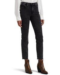 FRAME Le High Acid-washed Straight Jeans - Black