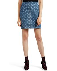 Marine Serre - Moon-graphic Denim Miniskirt - Lyst