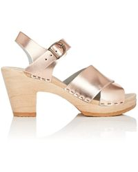 No. 6 - Coco Metallic Leather Clog Sandals - Lyst