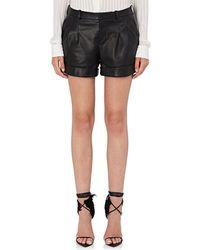 Saint Laurent - Leather Cuffed Shorts - Lyst