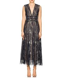J. Mendel - Beaded Metallic Lace Cocktail Gown - Lyst