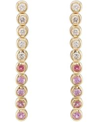 Jennifer Meyer - White Diamond & Pink Sapphire Bezel Tennis Earrings - Lyst