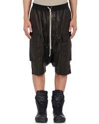 Rick Owens - Black Leather Ricks Pods Shorts - Lyst