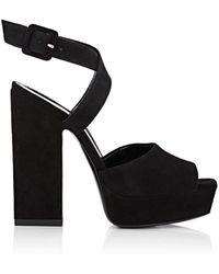 Saint Laurent - Debbie Suede Platform Sandals - Lyst