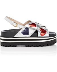 Gucci - Sunrise Metallic Leather Platform Sandals - Lyst