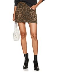 R13 - Leopard-print Denim Skirt - Lyst