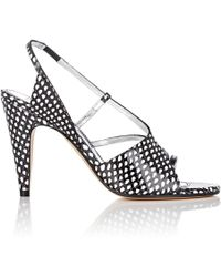Givenchy - Stamped Leather Slingback Sandals - Lyst