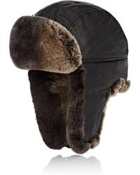 52fd7e2372f46 Lyst - Crown Cap Fur-lined Leather Aviator Hat in Black for Men