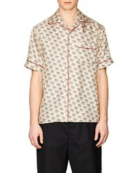 Gucci - Invitation-print Silk Twill Shirt - Lyst
