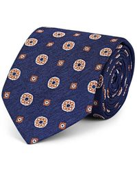 Bigi - Medallion-pattern Silk Faille Necktie - Lyst