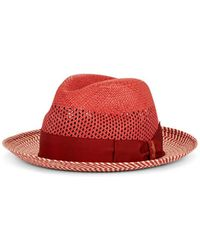 Borsalino - Quito Panama Chevron Striped Straw Hat - Lyst 65107094af4e