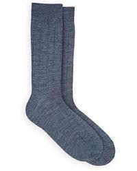 Barneys New York - Drop-stitch-striped Stretch-wool Mid-calf Socks - Lyst