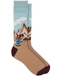 Corgi - Wild West-scene Cotton-blend Mid-calf Socks - Lyst