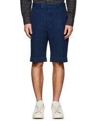 Officine Generale - Linen-cotton Cuffed Shorts - Lyst