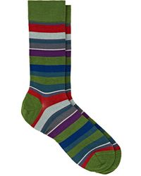Barneys New York - Mixed-striped Cotton-blend Mid - Lyst