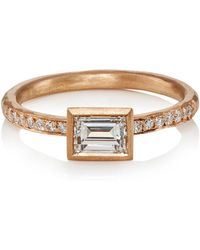 Malcolm Betts - White Diamond & Rose Gold Ring - Lyst