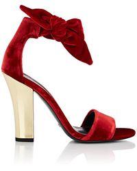 Stella Luna - Velvet Ankle-tie Sandals - Lyst