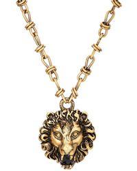 Gucci - Lion Head Pendant Necklace - Lyst