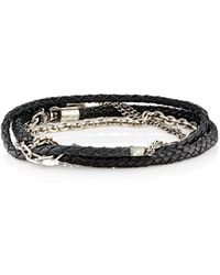Title Of Work - Mixed-chain & Leather Wrap Bracelet - Lyst