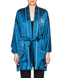 Giada Forte - Embroidered Satin Robe Jacket - Lyst